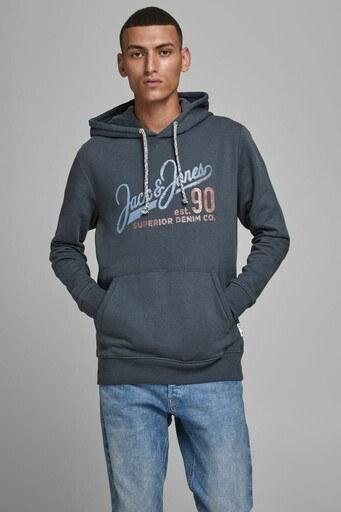 Jack & Jones Organik Pamuklu Kanguru Cepli Regular Fit Kapüşonlu Erkek Sweat 12178449 LACİVERT