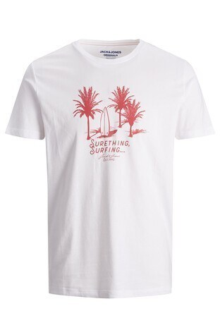 Jack & Jones - Jack & Jones Rahat Kesim % 100 Pamuk Originals Jorstreams Erkek T Shirt 12189576 BEYAZ-KIRMIZI