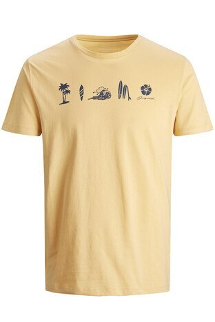 Jack & Jones Rahat Kesim % 100 Pamuk Originals Jorstreams Erkek T Shirt 12189576 SARI