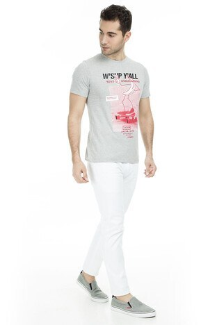 Jack & Jones Originals Jorzine Tee Sıfır Yaka Erkek T Shirt 12150349 AÇIK GRİ
