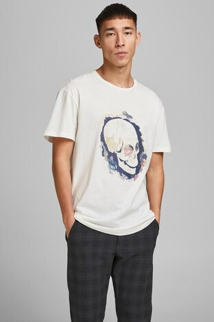 Jack & Jones - Jack & Jones Pamuklu Originals Jortrac Erkek T Shirt 12185197 KREM
