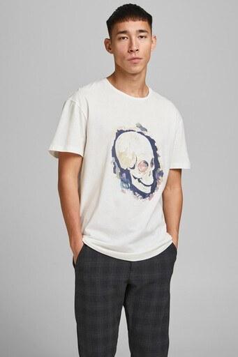 Jack & Jones Pamuklu Originals Jortrac Erkek T Shirt 12185197 KREM
