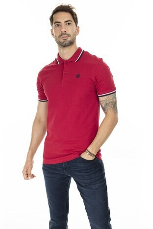 Jack & Jones - Jack & Jones Slim Fit Essentials Jjenoah T Shirt Erkek Polo 12165254 KIRMIZI