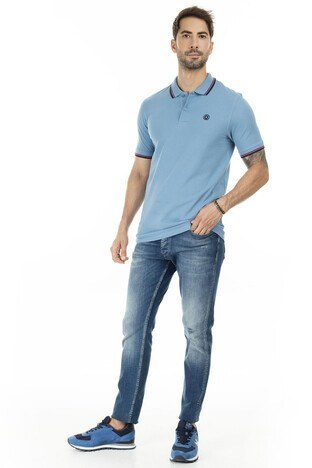 Jack & Jones Slim Fit Essentials Jjenoah T Shirt Erkek Polo 12165254 MAVİ