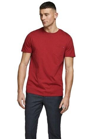 Jack & Jones - Jack & Jones Slim Fit Essentials Jjepocket Erkek T Shirt 12136714 KIRMIZI