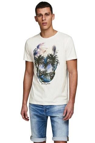 Jack & Jones Slim Fit Originals Jorraf Erkek T Shirt 12171634 KREM