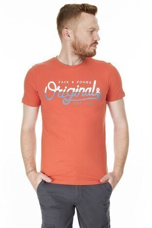 Jack & Jones - Jack & Jones Slim Fit Originals Jortone Erkek T Shirt 12179417 ORANGE
