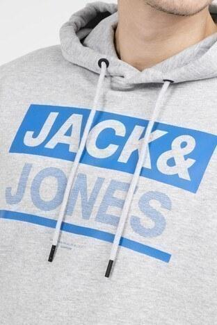 JACK&JONES CORE JCOMONEY HOOD WHS Erkek Sweat 12148875 AÇIK GRİ