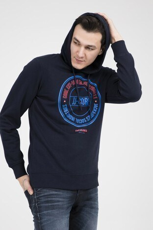 Jack & Jones - JACK&JONES CORE JCORONALD HOOD WHS Erkek Sweat 12148872 LACİVERT