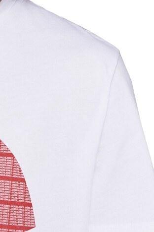Jack&Jones Core Jcostar Erkek T Shirt 12161628 BEYAZ-KIRMIZI