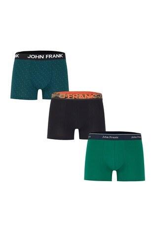 John Frank - John Frank 3 Pack Pamuklu Erkek Boxer CTNJFBPK06 Yeşil-Koyu yeşil-Siy