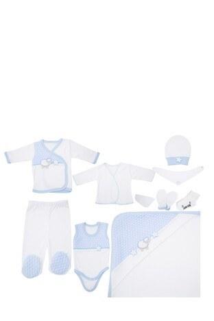 Le Ville - Le Ville % 100 Pamuk Yumuşak Erkek Çocuk 10 Lu Hastane Çıkışı CC1616 E MAVİ