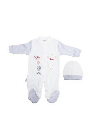 Le Ville - Le Ville % 100 Pamuk Yumuşak Erkek Bebek 2 Li Bebek Tulum 1087 B GRİ-EKRU