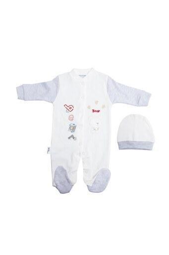 Le Ville % 100 Pamuk Yumuşak Erkek Bebek 2 Li Bebek Tulum 1087 B GRİ-EKRU
