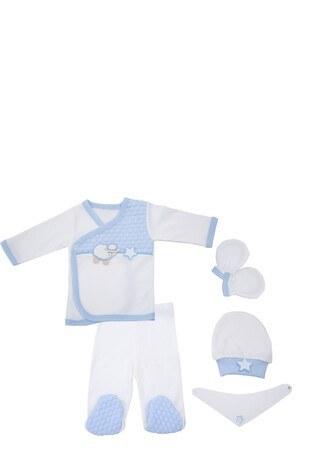 Le Ville - Le Ville % 100 Pamuk Yumuşak Erkek Bebek 5 Li Hastane Çıkışı CC525 E MAVİ