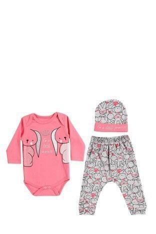 Le Ville - Le Ville % 100 Pamuk Yumuşak Kız Çocuk 3 Lü Bebek Takım 57415045 PEMBE-GRİ