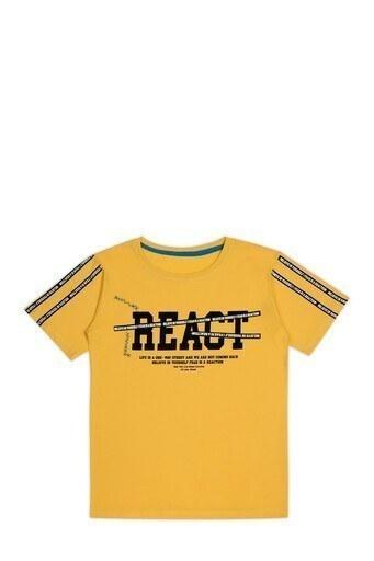 Le Ville Baskılı Bisiklet Yaka % 100 Pamuklu Erkek Çocuk T Shirt SUP07751 SARI