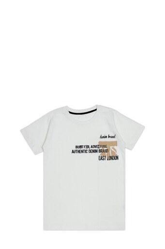 Le Ville Baskılı Bisiklet Yaka % 100 Pamuklu Erkek Çocuk T Shirt SUP07862 EKRU