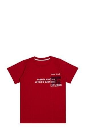 Le Ville - Le Ville Baskılı Bisiklet Yaka % 100 Pamuklu Erkek Çocuk T Shirt SUP07862 KIRMIZI