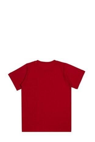 Le Ville Baskılı Bisiklet Yaka % 100 Pamuklu Erkek Çocuk T Shirt SUP07862 KIRMIZI