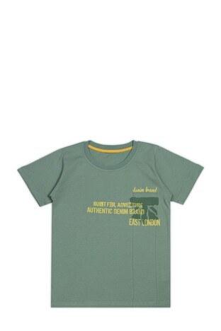 Le Ville - Le Ville Baskılı Bisiklet Yaka % 100 Pamuklu Erkek Çocuk T Shirt SUP07862 YEŞİL