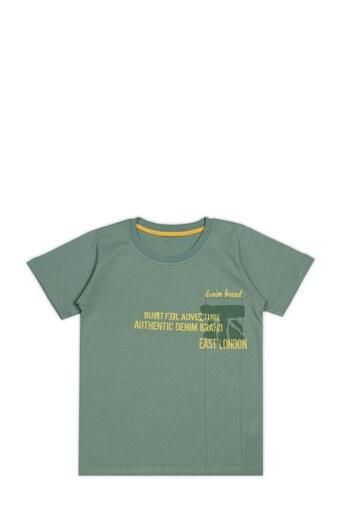 Le Ville Baskılı Bisiklet Yaka % 100 Pamuklu Erkek Çocuk T Shirt SUP07862 YEŞİL