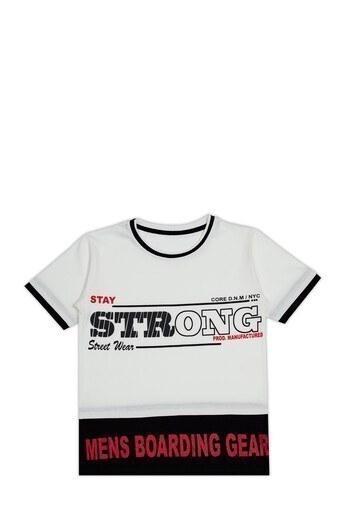 Le Ville Baskılı Bisiklet Yaka % 100 Pamuklu Erkek Çocuk T Shirt SUP07893 EKRU