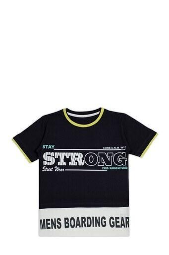 Le Ville Baskılı Bisiklet Yaka % 100 Pamuklu Erkek Çocuk T Shirt SUP07893 FÜME