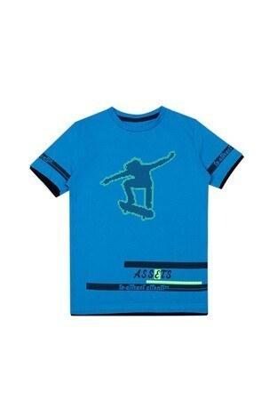 Le Ville - Le Ville Baskılı Bisiklet Yaka Erkek Çocuk T Shirt 57762611 MAVİ
