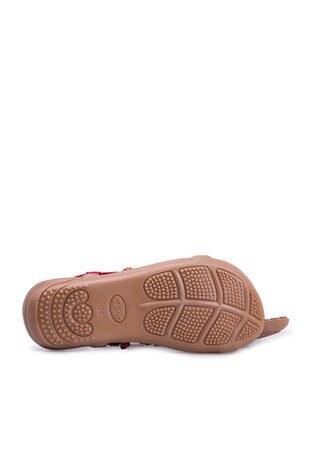 Le Ville Boncuk Detaylı Kız Çocuk Sandalet 38920Y1531 KIRMIZI