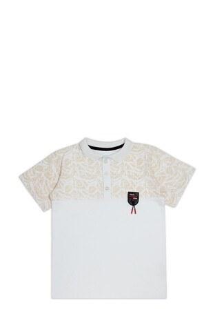 Le Ville - Le Ville Düğmeli Polo Yaka % 100 Pamuklu Erkek Çocuk T Shirt SUP07873 BEYAZ