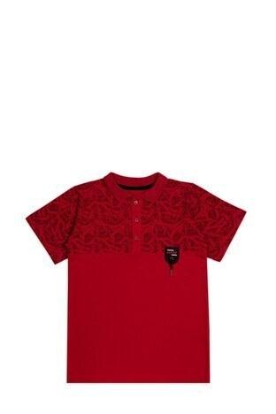 Le Ville - Le Ville Düğmeli Polo Yaka % 100 Pamuklu Erkek Çocuk T Shirt SUP07873 KIRMIZI