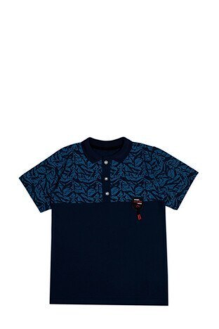 Le Ville Düğmeli Polo Yaka % 100 Pamuklu Erkek Çocuk T Shirt SUP07873 LACİVERT