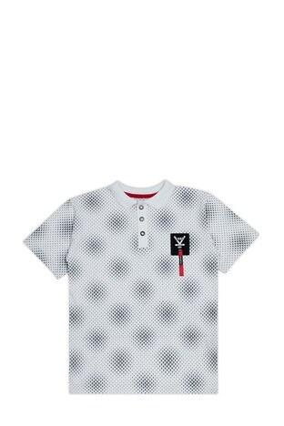 Le Ville - Le Ville Düğmeli Polo Yaka % 100 Pamuklu Erkek Çocuk T Shirt SUP07894 BEYAZ