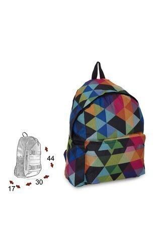Le Ville Geometrik Desenli Unisex Çocuk Okul Çantası 536CR030501 SİYAH-MAVİ