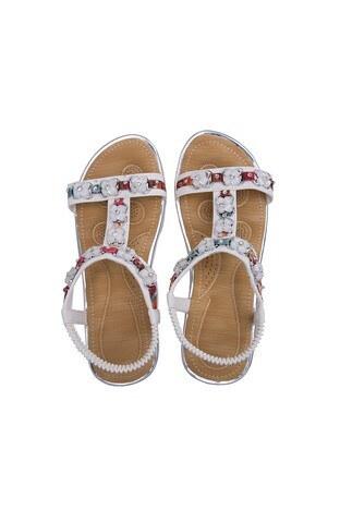 Le Ville Taş Detaylı Kız Çocuk Sandalet 38920Y2364 BEYAZ