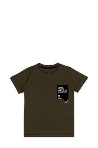 Le Ville Yazılı Bisiklet Yaka % 100 Pamuklu Erkek Çocuk T Shirt SUP07907 HAKİ