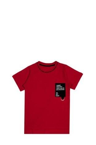 Le Ville - Le Ville Yazılı Bisiklet Yaka % 100 Pamuklu Erkek Çocuk T Shirt SUP07907 KIRMIZI
