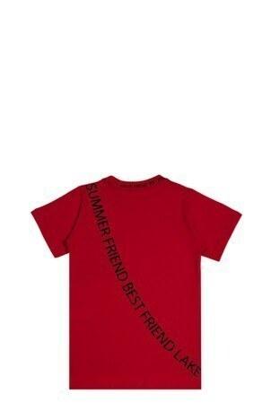 Le Ville Yazılı Bisiklet Yaka % 100 Pamuklu Erkek Çocuk T Shirt SUP07907 KIRMIZI
