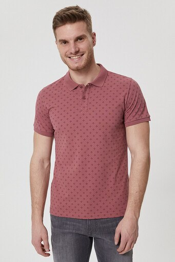 Lee Cooper T Shirt Erkek Polo 212 LCM 242041 3851 GÜL KURUSU