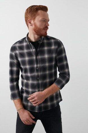 Lee Cooper Ekose Desenli Düğmeli Yaka % 100 Pamuk Erkek Gömlek 211 LCM 241006 7131 GRİ-SİYAH