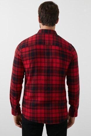 Lee Cooper Ekose Desenli Düğmeli Yaka % 100 Pamuk Erkek Gömlek 211 LCM 241009 3180 KIRMIZI-SİYAH