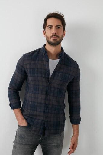 Lee Cooper Ekose Desenli Düğmeli Yaka % 100 Pamuk Erkek Gömlek 211 LCM 241009 7124 KOYU GRİ-SİYAH