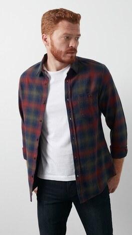 Lee Cooper Ekose Desenli Düz Yaka % 100 Pamuk Erkek Gömlek 211 LCM 241037 4511 BORDO-HAKİ