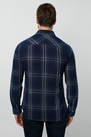 Lee Cooper Ekoseli Düz Yaka % 100 Pamuk Erkek Gömlek 211 LCM 241087 2609 İNDİGO-GRİ
