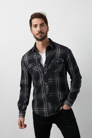 Lee Cooper Ekoseli Düz Yaka % 100 Pamuk Erkek Gömlek 211 LCM 241087 8126 SİYAH-ANTRASİT