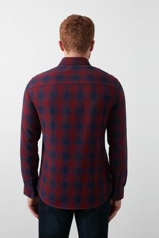 Lee Cooper Kareli Düğmeli Yaka % 100 Pamuk Erkek Gömlek 211 LCM 241019 2522 LACİVERT-BORDO