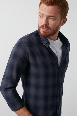 Lee Cooper Kareli Düğmeli Yaka % 100 Pamuk Erkek Gömlek 211 LCM 241019 2530 LACİVERT-GRİ