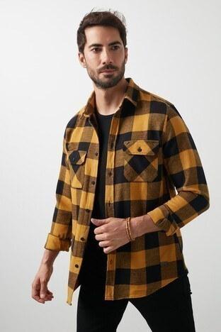 Lee Cooper Kareli Düz Yaka % 100 Pamuk Erkek Gömlek 211 LCM 241035 1707 HARDAL-SİYAH