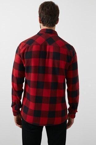 Lee Cooper Kareli Düz Yaka % 100 Pamuk Erkek Gömlek 211 LCM 241035 3181 KIRMIZI-SİYAH